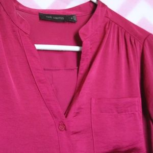 The Limited Tops - The Limited Wine Button-Up Blouse Size M